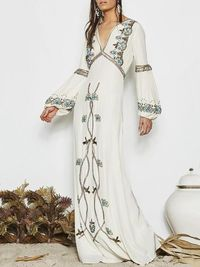 Presale White Embroidered Puff Sleeve Maxi Dress $37.99