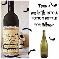 Step by step directions on how to Upcycle a glass bottle and turn them into Potion Bottles, perfect for Halloween.