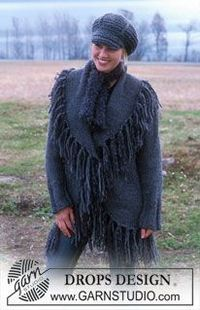 Free Pattern: Cardigan with large collar. Scarf & crochet hat pattern also.