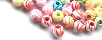 Pack of 150 Assorted Colours Round Plastic Stripe Beads. 8mm Spacers. £8.19