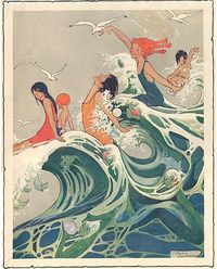 1910 Vintage Young Women and Mermaids Frolicking in the Big Ocean Waves Illustration via Etsy.
