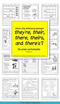 ** FREE! ** My students struggle with they're, their, there, theirs and there's. Who can blame them? They're confusing homophones! Whenever it seems like they need a refresher, I use these worksheets.