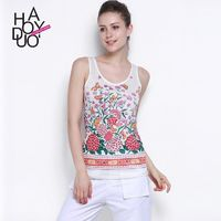2017 summer sweet fashion colorful Butterfly flowers stamp new slim women vest - Bonny YZOZO Boutique Store