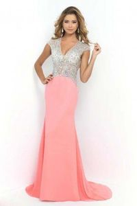 Coral Pink Illusion Bodice Long Glamorous Evening Gowns