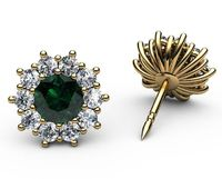 Emerald Halo Diamond Stud Earrings, Emerald surrounded with Diamonds $1598.50