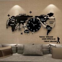 World Map Wall Clock Nordic Modern Minimalist Decoration Acrylic $90.15