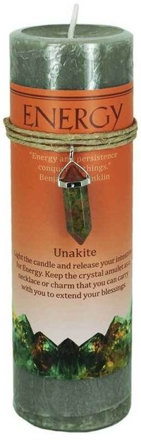 Look what's new! Energy Pillar Candle with Unkite Pendant just in at The Ancient Sage!