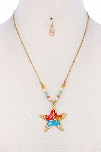 Chic Fashion Star Pendant Necklace And Earring Set $12.51