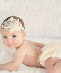Take a look at this Ivory & Champagne Diaper Cover & Headband - Infant by Ella's Bows on #zulily today!