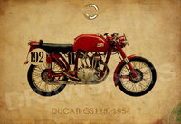 DUCATI GS125 1954 Vintage background, Art Print 14x10 in and more. Man office decor. Valentines Day. $31.00