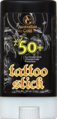 Australian Gold Tattoo Stick SPF50 14g Protect those beautiful works of art with this SPF 60 Tattoo Stick with Ultimate Fade Protection that helps prevent ink discoloration while providing intense moisture to brighten tattoo colors. To use http://www.comp...