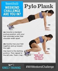 #WHWeekendChallenge brought to you by Xbox! Plyo Plank. Work your total body and raise your heart rate with this calorie-torching move. Do 10 on each side. SO...ARE YOU IN?