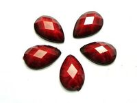 Pack of 50 Red Teardrop Flatback Cabochons. 10mm x 7mm Imitation Gems. Acrylic Gemstones for Decorations for Jewellery, Crafts and Clothes. £3.99