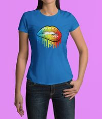 Womens 100% Cotton Tops Designer Fashion Womens T Shirts Womens Fashion Tops Womens Tops and Blouses Cotton T Shirts Rainbow Drenched Lips $11.99 https://www.etsy.com/shop/LAFabriKDesigns?ref=ss profile