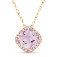 1.53ct Cushion Cut Pink Amethyst & Round Diamond Halo Pendant & Chain Necklace in 14k Rose Gold