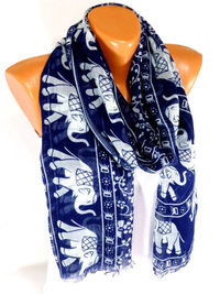 Scarf, Elephant Printed Scarf, Elephant Patterned Scarf, Shawls, Mens Scarves, infinity Scarf, Lightweight Summer Scarf, Gift for Christmas $16.00