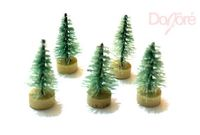 Pack of 10 TINY Plastic Green Christmas Pine Trees. 3cm x 1cm. Seasonal Tree and Doll House Decoration. Xmas, Gift, New Year and Scrapbook £2.79