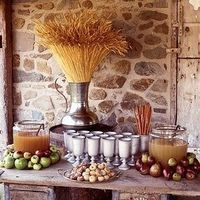 Rustic Fall Cider Bar--this will be improved with boxes of wine. And bourbon. Always bourbon.