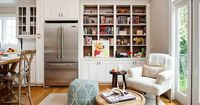 TerraCotta Properties: Comfy, cozy living room design with built-in cabinets with back of open shelves lined ...