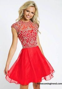 Bead High Neck Short Red Homecoming Dresses 2014