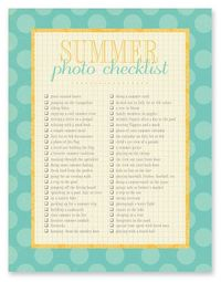 Summer Photo Checklist