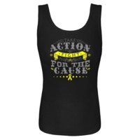 Take Action Fight For The Cause Endometriosis Women's Tank Tops featuring a unique text design with a yellow ribbon to make an impression for awareness