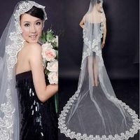 Elegant Cathedral Length White Tulle Wedding Veil