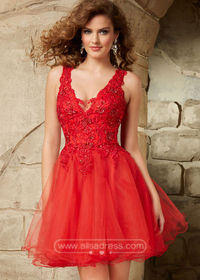 Beautiful 2015 Red Straps V Neck Beaded Lace Layered Homecoming Dress