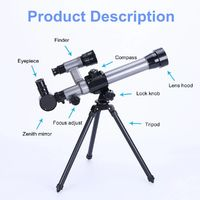 Kids HD Telescope Astronomical Monocular With Tripod Refractor Spyglass Zoom High Power Spotting Scopes