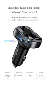 Baseus 3.4A Dual USB Car Charger Bluetooth FM Transmitter Handsfree Car Kit Player Aux Modulator