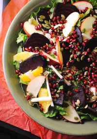 Ensalada de Noche Buena | Christmas Eve Salad | This salad is one of my favorite foods featured on Noche Buena. A platter brimming with the colors of Christmas. Roasted beets, oranges, jicama, apples, pomegranate and pepitas are layered decoratively over ...