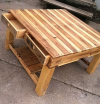 Here is a coffee table I constructed from two smaller pallets. It is complete with four drawers. To keep it �€�
