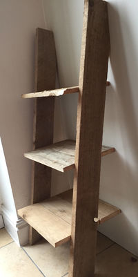 Ladder Bookcase - Small Rustic Shelf-Bedside Table: 3 shelves Pallet Wood Farmhouse £229.00