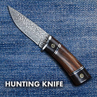 Damascus Hunting Knife Fixed Blade Leather Scabbard Camping Outdoor Home Tool $48.90