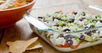 EIGHT-LAYER MEDITERRANEAN DIP: This is no way replaces my beloved taco dip, but might be an interesting alternative!