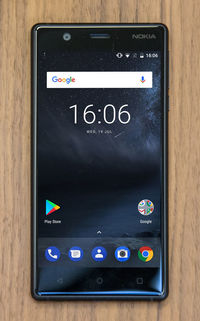 The Lowest Price of Nokia 3 in Pakistan is Rs: 16,100 USD: $154. 8 MP Camera, Dual Sims, 16 GB, 2 GB RAM, MP3 Player, FM Player, etc. Available colors: Silver White, Matte Black, Tempered Blue, Copper White.