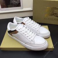 Burberry Leather Suede And House Check Sneakers In White