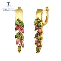 TBJ,colorful 4.2ct natural brazil tourmaline clasp earring 925 sterling silver gold fine jewelry for lady wife party nice gift $97.98