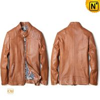 CWMALLS® Paris Men Calfskin Leather Moto Jacket CW808051 [Father's Day Gift, Made to Order]