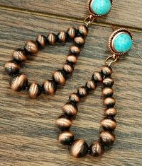 Copper &Turquoise Tear Drop Navajo Bead Earrings $19.95