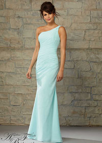 One Shoulder Mint Fitted Ruched Bodice Cutout Back Formal Dress