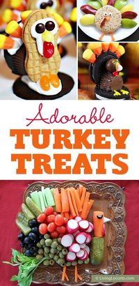 Creative Turkey Treats! Fun food kids recipes to make Thanksgiving extra special. Cookies, vegetables, candy, and Rice Krispies treats shaped like turkeys.