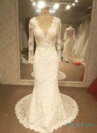 Sexy open back long sleeved lace mermaid wedding dress