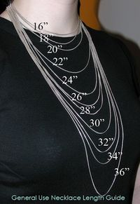 Necklace lengths. Good to know if ordering jewelry and can't picture the length. facebook.com/scatlett.origamiowl Twitter