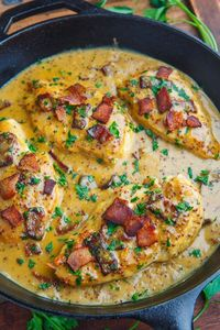 A quick and easy skillet chicken dinner in a creamy honey dijon and bacon pan sauce!