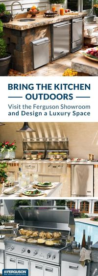 At Ferguson Bath, Kitchen & Lighting Gallery, we have everything you need to design a luxury outdoor kitchen. You'll find a wide range of grills plus so much more like wine coolers, side burners and even outdoor dishwashers. Anything you can dre...