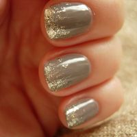 Grey with Gold Sparkle...I am in love with this look! I'm going to get the polish for this tomorrow :)