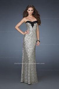Uncomplicated Sequined Strapless Long Gold Evening Dresses 2013 Sale