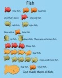 Preschool learning games --- Dr. Seuss' One Fish Two Fish with a twist, for goldfish crackers (: so cute!
