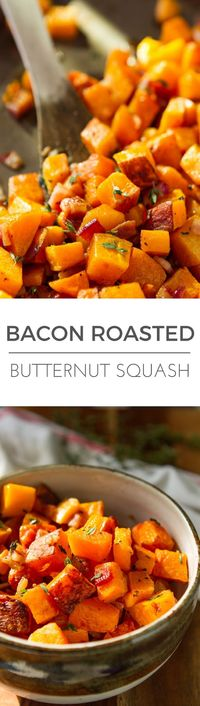 Bacon Roasted Butternut Squash -- 3 ingredients never tasted so good, just thick cut bacon, butternut squash and fresh thyme. The perfect paleo side dish or weeknight sheet pan meal... Total winner! | via